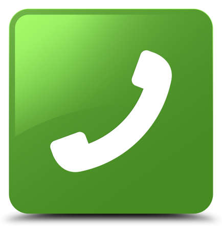 Phone icon isolated on soft green square button abstract illustration