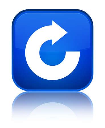 Antworten Sie die Pfeilikone, die auf speziellem blauem quadratischem Knopf lokalisiert wird, reflektierte abstrakte Illustration