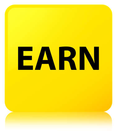 Earn isolated on yellow square button reflected abstract illustration Stock Photo
