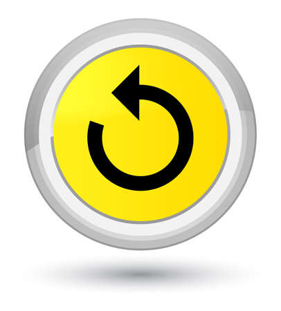 Refresh arrow icon isolated on prime yellow round button abstract illustration