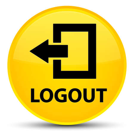 Logout isolated on special yellow round button abstract illustration Stock Photo