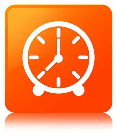 Clock icon isolated on orange square button reflected abstract illustration