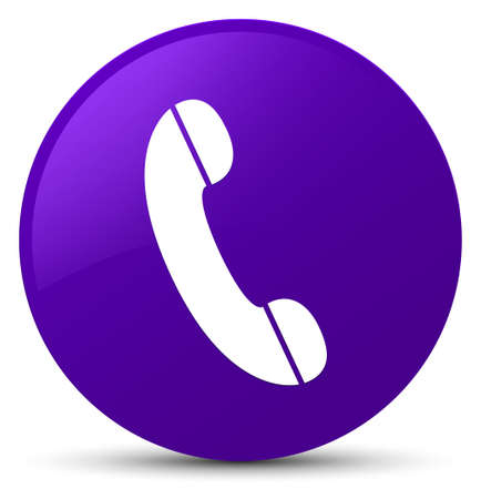 Phone icon isolated on purple round button abstract illustration Stock Photo