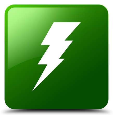 voltage sign: Electricity icon isolated on green square button abstract illustration