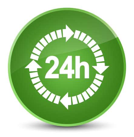 24 horas icono de entrega aislado en elegante verde suave botón redondo ilustración abstracta