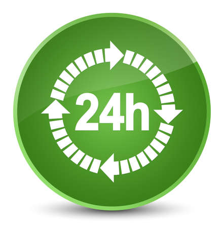 24 hours delivery icon isolated on elegant soft green round button abstract illustration Stock Photo