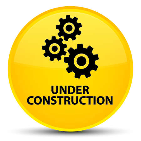Under construction (gears icon) isolated on special yellow round button abstract illustration