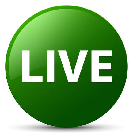 Live isolated on green round button abstract illustration Stock Photo