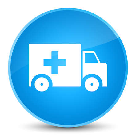 lorries: Ambulance icon isolated on elegant cyan blue round button abstract illustration Stock Photo