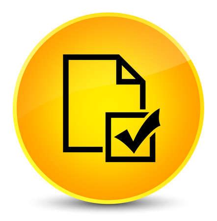 Survey icon isolated on elegant yellow round button abstract illustration