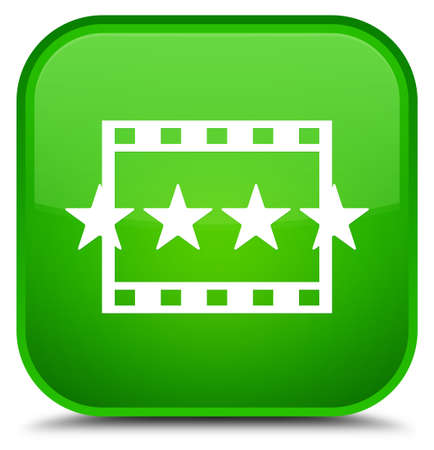 Movie reviews icon isolated on special green square button abstract illustration