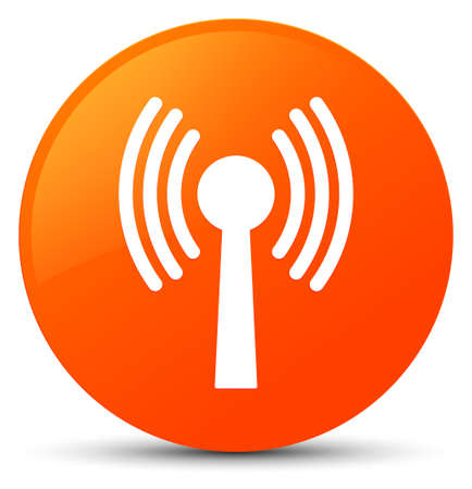 Wlan network icon isolated on orange round button abstract illustration
