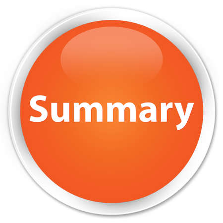 Summary isolated on premium orange round button abstract illustration