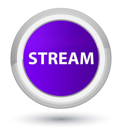 Stream isolated on prime purple round button abstract illustration