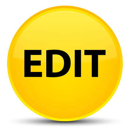Edit isolated on special yellow round button abstract illustration Stock Photo