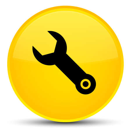 button: Wrench icon isolated on special yellow round button abstract illustration Stock Photo