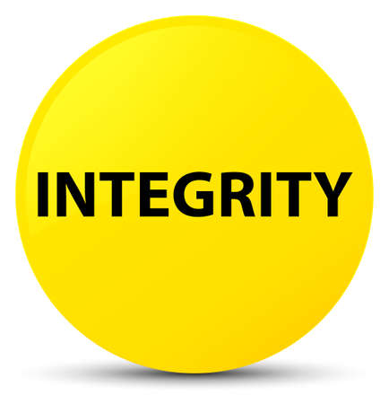 Integrity isolated on yellow round button abstract illustration