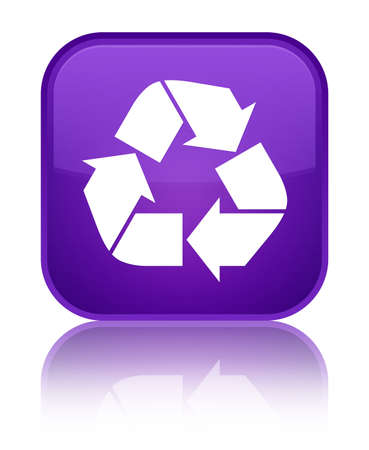Recycle icon isolated on special purple square button reflected abstract illustration Stock Photo
