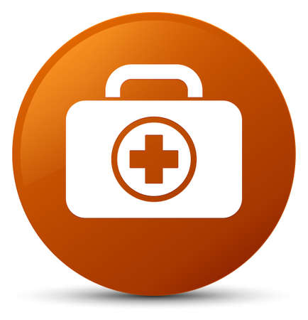First aid kit icon isolated on brown round button abstract illustration