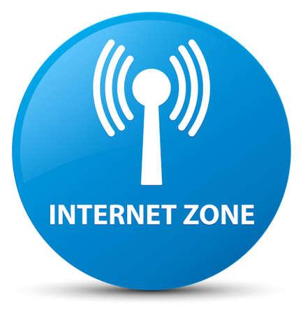 Zone Internet (réseau WLAN) isolé sur illustration abstraite du bouton rond bleu bleu Banque d'images - 88831909