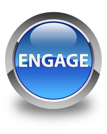 Engage isolated on glossy blue round button abstract illustration Banco de Imagens