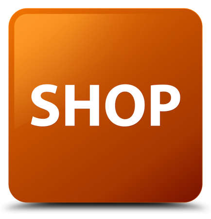 Shop isolated on brown square button abstract illustration Stock Photo