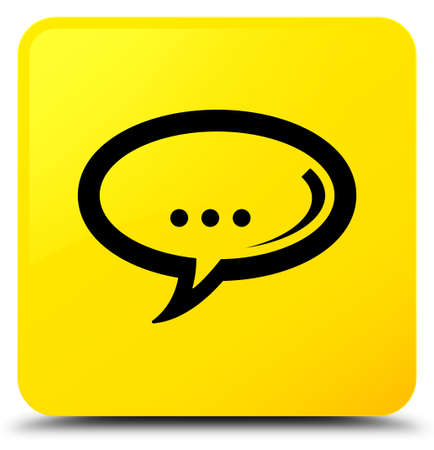 Chat icon isolated on yellow square button abstract illustration