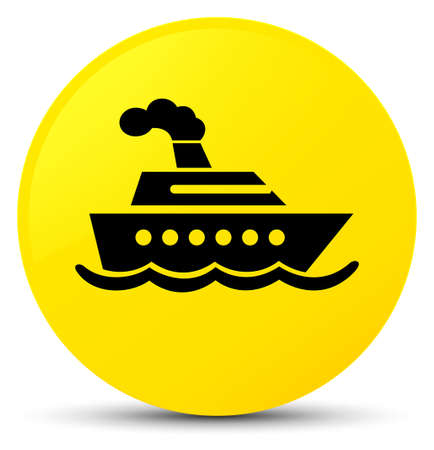 Cruise ship icon isolated on yellow round button abstract illustration