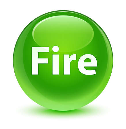 Fire isolated on glassy green round button abstract illustration Stock Photo