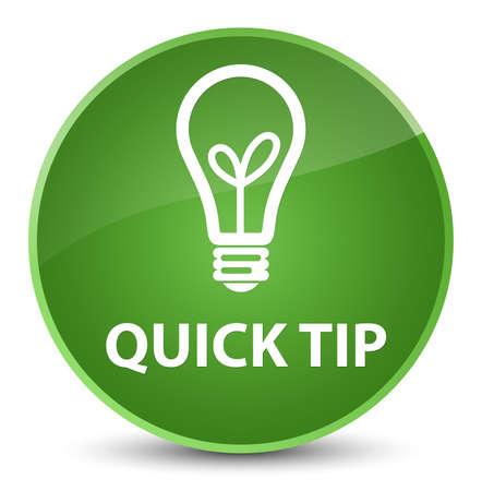 クイック ヒント (電球アイコン) エレガントなソフト グリーン ボタンの抽象的なイラスト丸に分離
