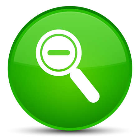Zoom out icon isolated on special green round button abstract illustration
