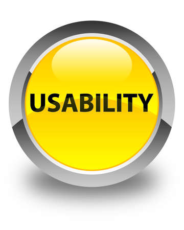 Usability isolated on glossy yellow round button abstract illustration Stock Photo
