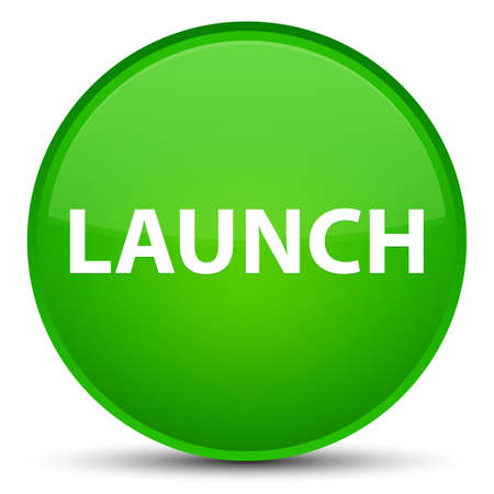 Launch isolated on special green round button abstract illustration