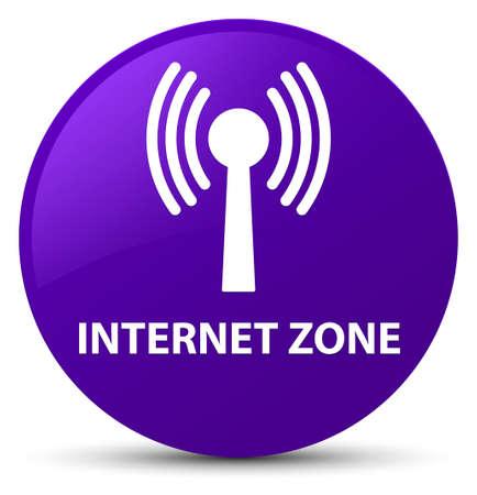 Zone Internet (réseau WLAN) isolé sur illustration abstraite bouton rond violet Banque d'images - 88832059