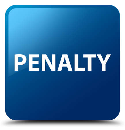 Penalty isolated on blue square button abstract illustration
