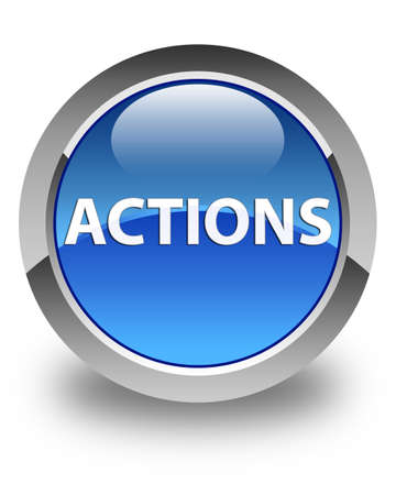 Actions isolated on glossy blue round button abstract illustration Фото со стока