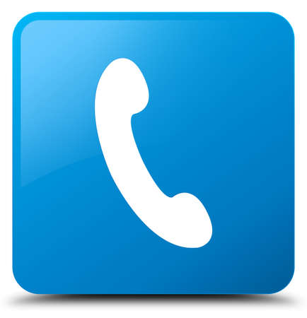 Phone icon isolated on cyan blue square button abstract illustration Stock Photo