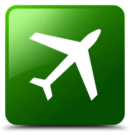 Plane icon isolated on green square button abstract illustration Stock Photo