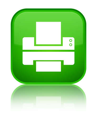 Printer icon isolated on special green square button reflected abstract illustration