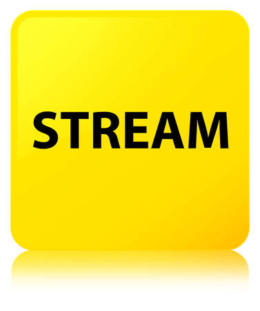 Stream isolated on yellow square button reflected abstract illustration