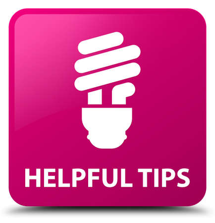 Helpful tips (bulb icon) isolated on pink square button abstract illustration