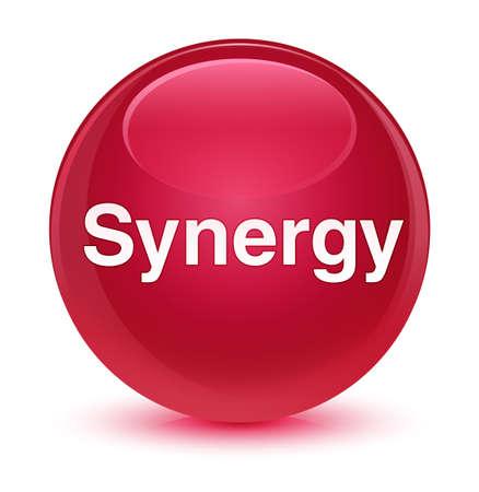 Synergie op glazige roze ronde knoop abstracte illustratie die wordt geïsoleerd Stockfoto