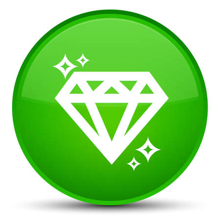 Diamond icon isolated on special green round button abstract illustration Stock Photo