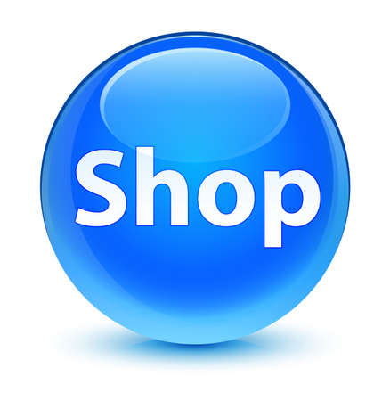 Shop isolated on glassy cyan blue round button abstract illustration Stock Photo