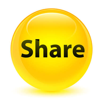 Share isolated on glassy yellow round button abstract illustration