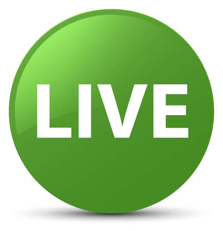 Live isolated on soft green round button abstract illustration
