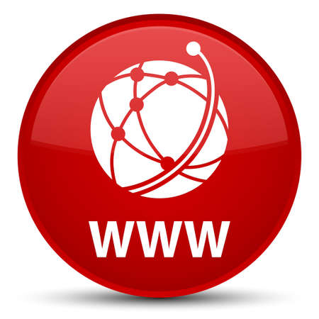 WWW (global network icon) isolated on special red round button abstract illustration Stock Photo
