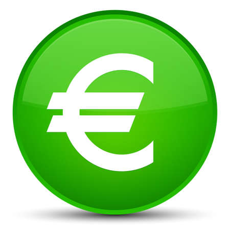 Euro sign icon isolated on special green round button abstract illustration