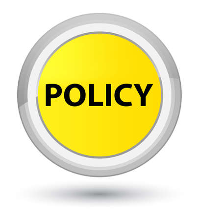 Policy isolated on prime yellow round button abstract illustration Stok Fotoğraf