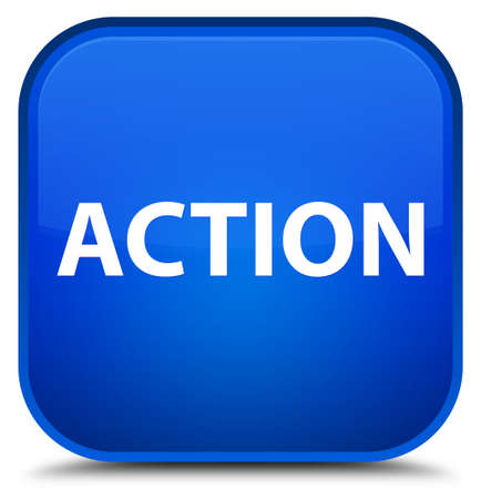 Action isolated on special blue square button abstract illustration Фото со стока